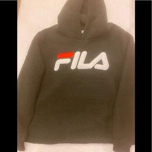 FILA Logo Hoodie Pullover Sweatshirt Black Size 1X
